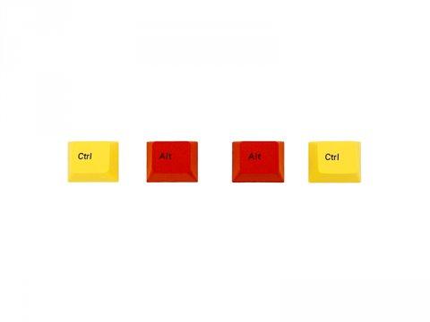 PBTカラーアクセサリーキーキャップ 黄Ctrl/赤Altキー