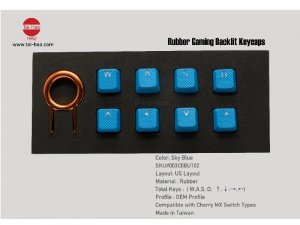 Tai-Hao Rubber Gaming Backlit Keycaps-8 keys Sky Blue