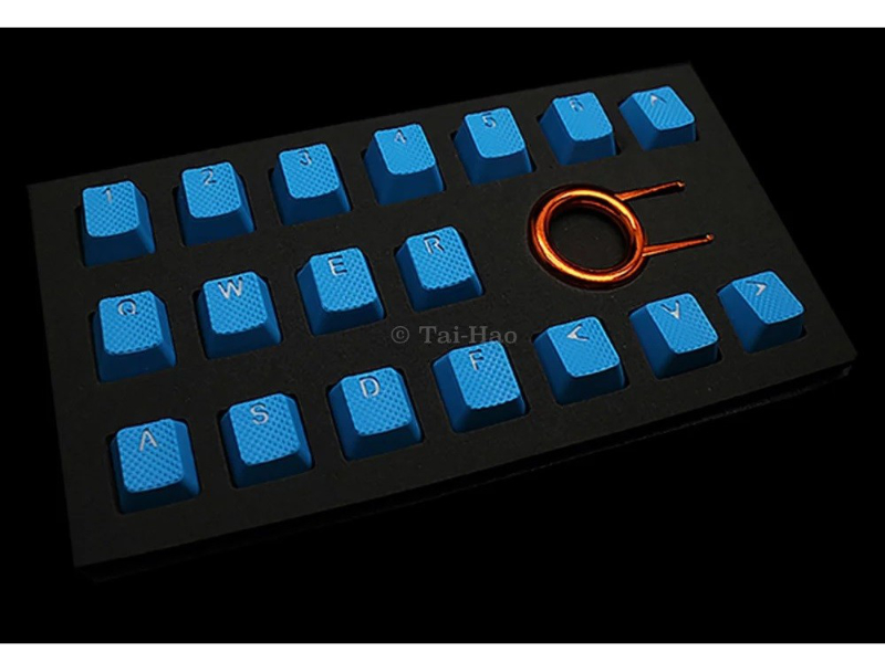 Tai-Hao Rubber Gaming Backlit Keycaps-18 keys Sky Blue